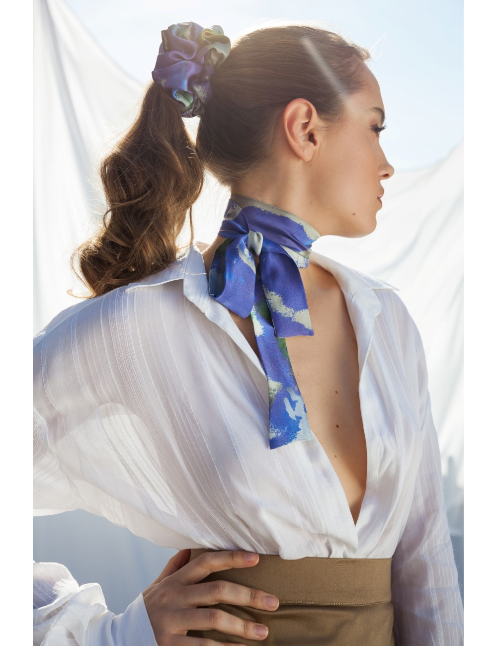 Clare Haggas Game On Silk Scrunchie - Ladies from A Hume UK